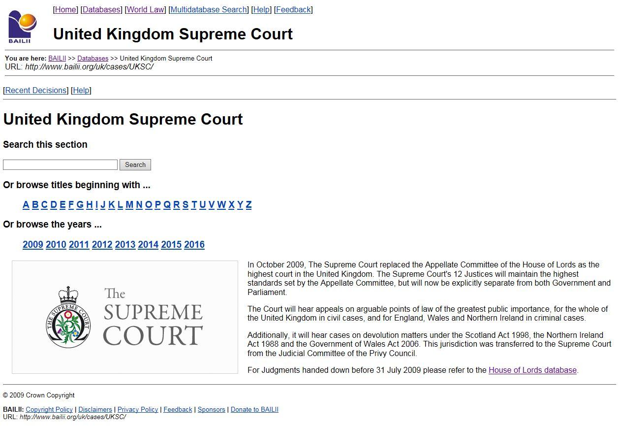 BAILII Supreme Court