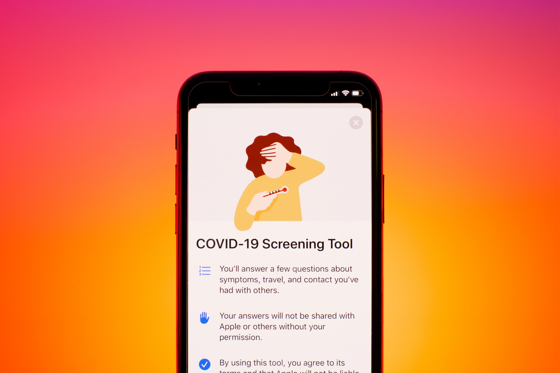 image of covid detection tool on smartphone