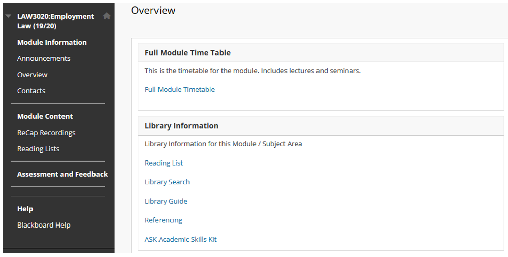 An image of a Reading Lists link within Blackboard.