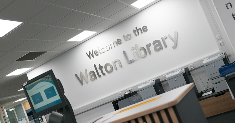 Photograph showing the interior of the Walton Library.