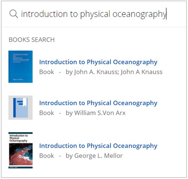 A search for 'Introduction to physical oceanography' has been entered into a search box. Matching book titles are in a list below.