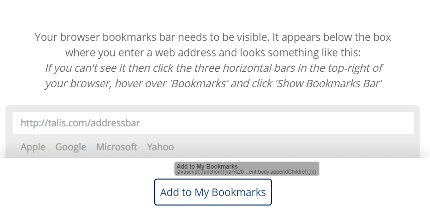 Option to 'Add to my bookmarks' is shown being dragged towards the browser bar.