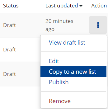 Three dots have been highlighted and the dropdown menu expanded. The option to 'Copy to a new list' is highlighted in blue.