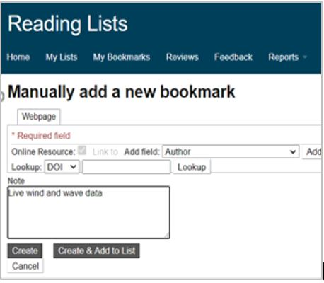 Text reads 'Manually add a new bookmark'. Options include 'Create', 'Create and add to list' and 'Cancel'