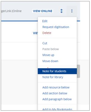 Three dots have been selected and dropdown menu expanded. Option 'Note for students' is highlighted in blue.
