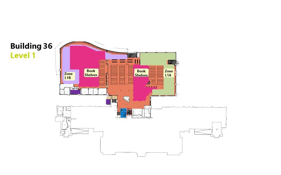 Hartley Library level 1 floor plan showing bookable zones