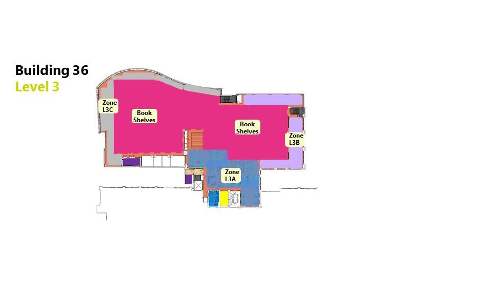 Hartley Library level 3 floor plan showing bookable zones