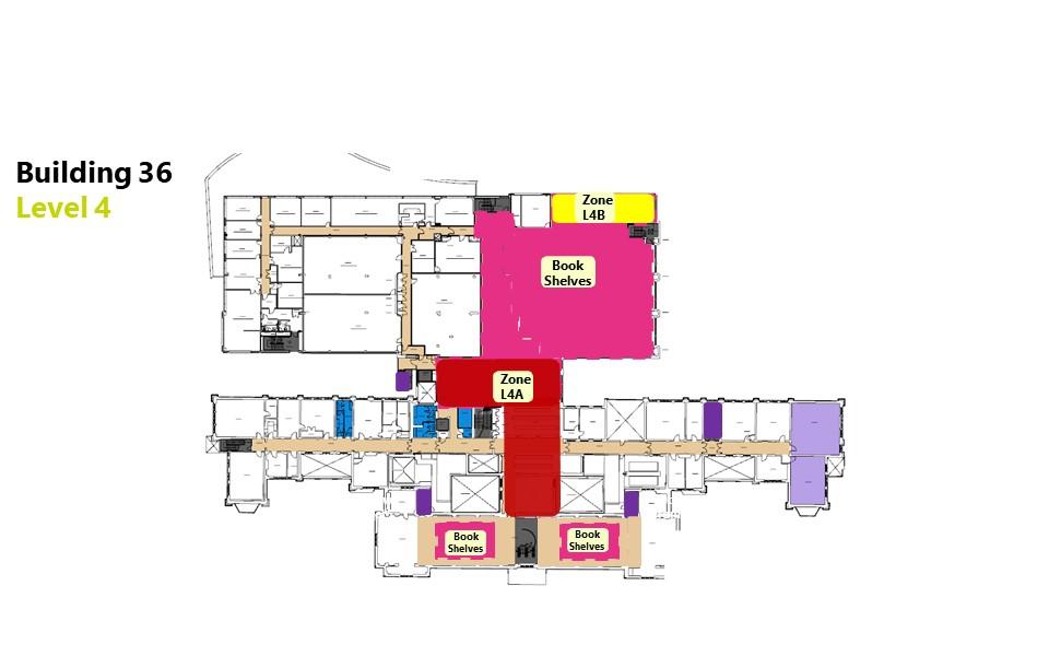 Hartley Library level 4 floor plan showing bookable zones