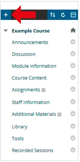 Blackboard course menu. Red arrow pointing at Plus button.