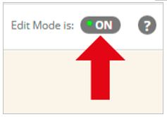 Red arrow pointing at 'Edit mode is ON'