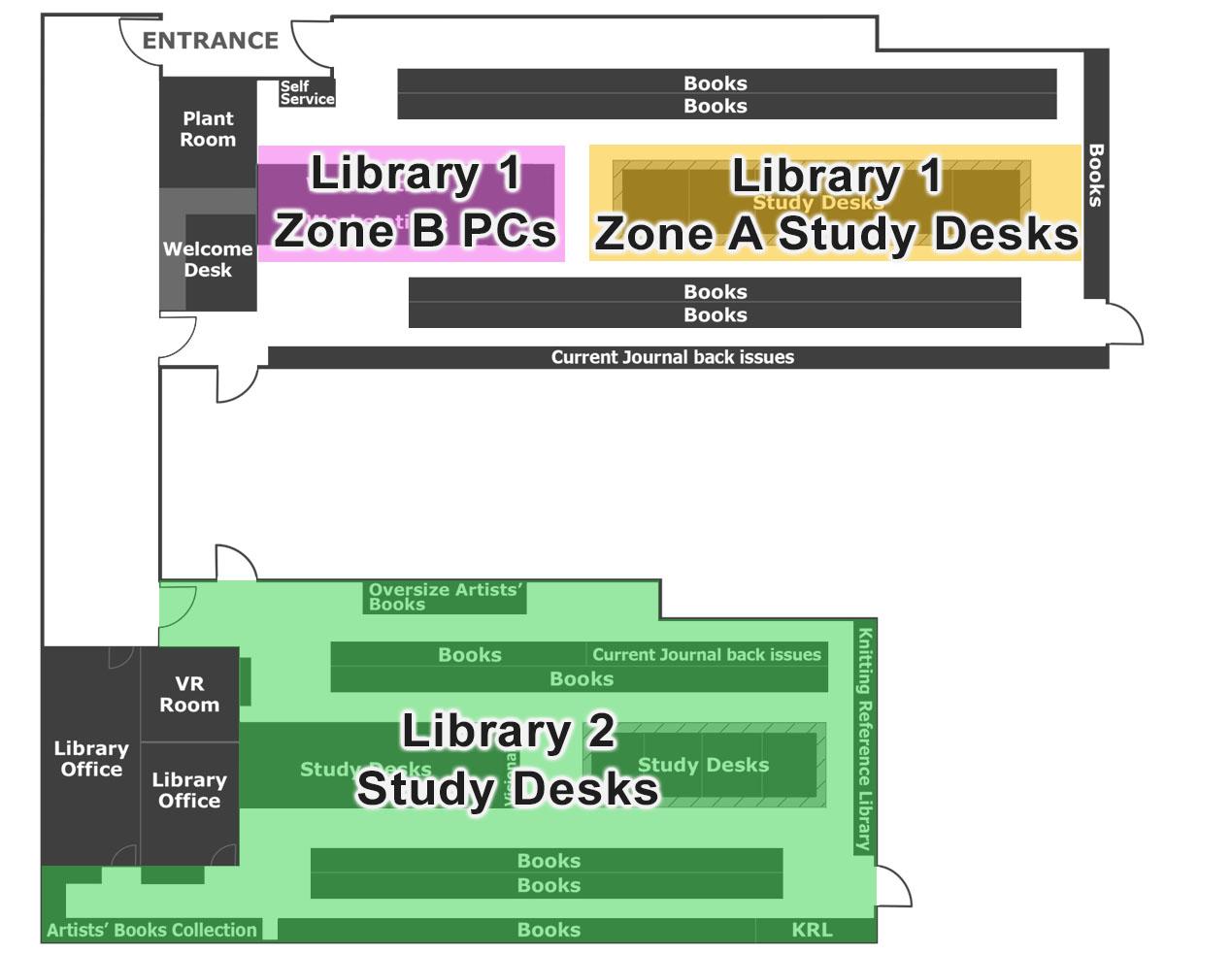 Winchester School of Art Library floor plan showing bookable zones