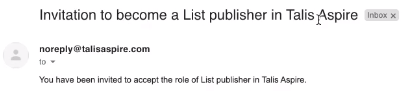 Text reads 'Invitation to become a list publisher in Talis Aspire'