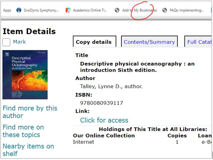 Image shows WebCat display for the book 'Descriptive physical oceanography', by Lynne Talley. 'Add to my bookmarks' on the browser bar is circled in red..