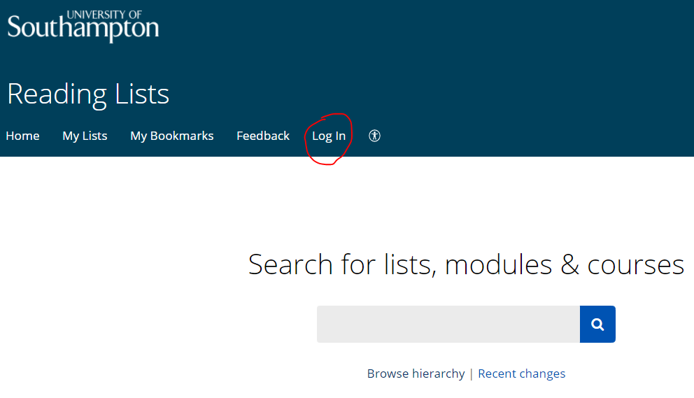 Reading Lists home page with log in circled in red. Search box below.