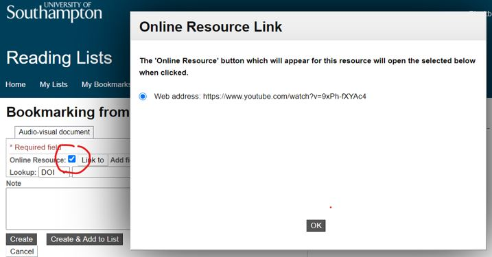 Text reads 'Online resource link. The online resource button which will appear for this resource will open the selected below when clicked' and the web address of a resource. The 'OK' button is highlighted in grey below.
