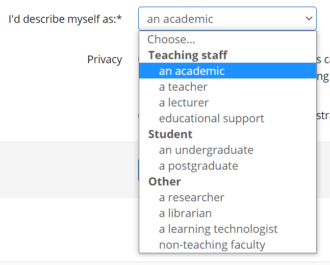 Dropdown menu for 'I'd describe myself as' has been expanded. The option 'An academic' is highlighted in blue.