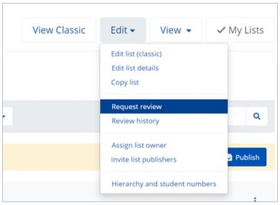Edit button is highlighted and dropdown menu expanded. The option to 'request review' is highlighted in blue.