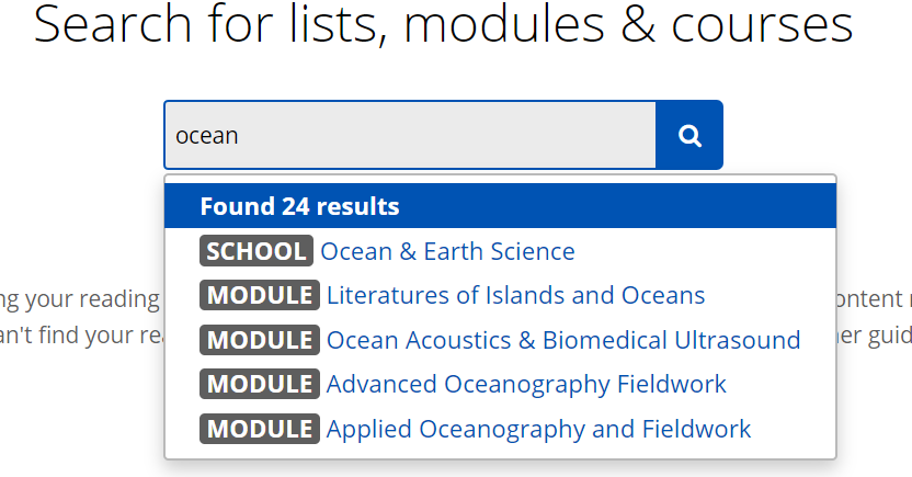 A search for 'ocean' has been entered into the search box. The first 5 of 24 results are shown. First result is 'School - Ocean and Earth Science'.