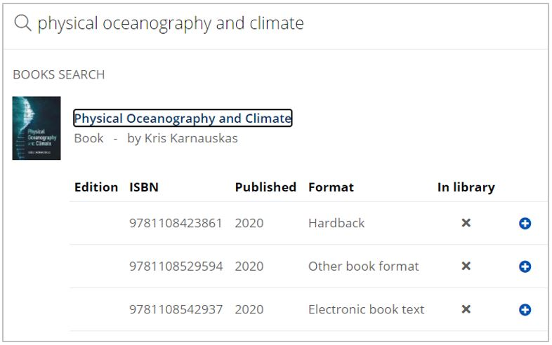 Book cover and title 'Physical oceanography and climate' are shown. A list of editions is displayed below, showing ISBN, edition, format and availability in library.