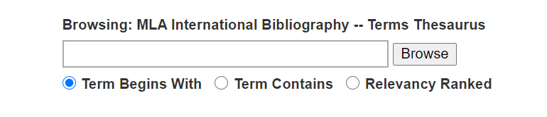 Screenshot of the EBSCOhost thesaurus search box.