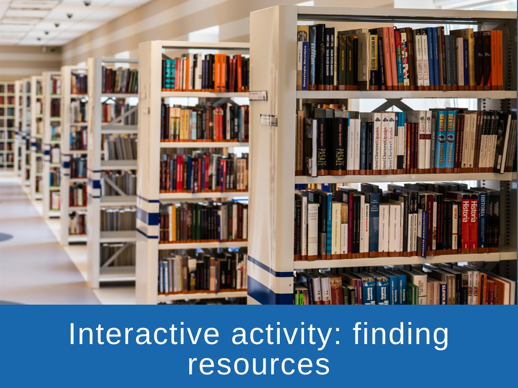Interactive activity - finding resources