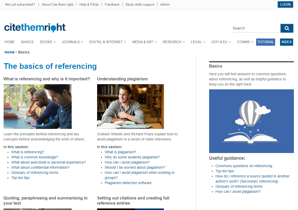 Cite them right basics for referencing screenshot