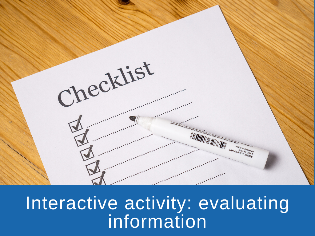 Interactive activity - evaluating information