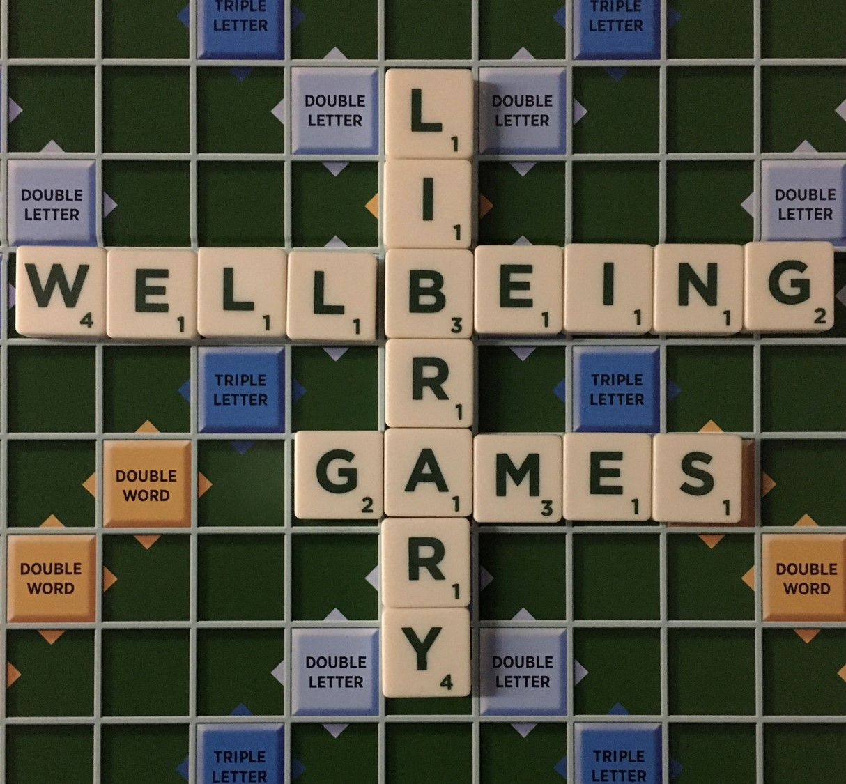 Scrabble letters spelling out Library Wellbeing Ga