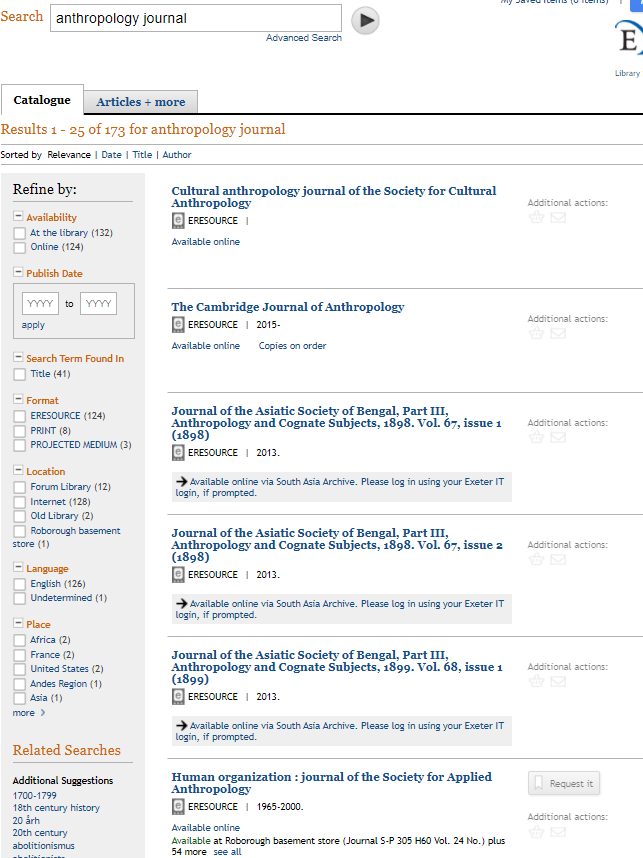 anthropology journal search results