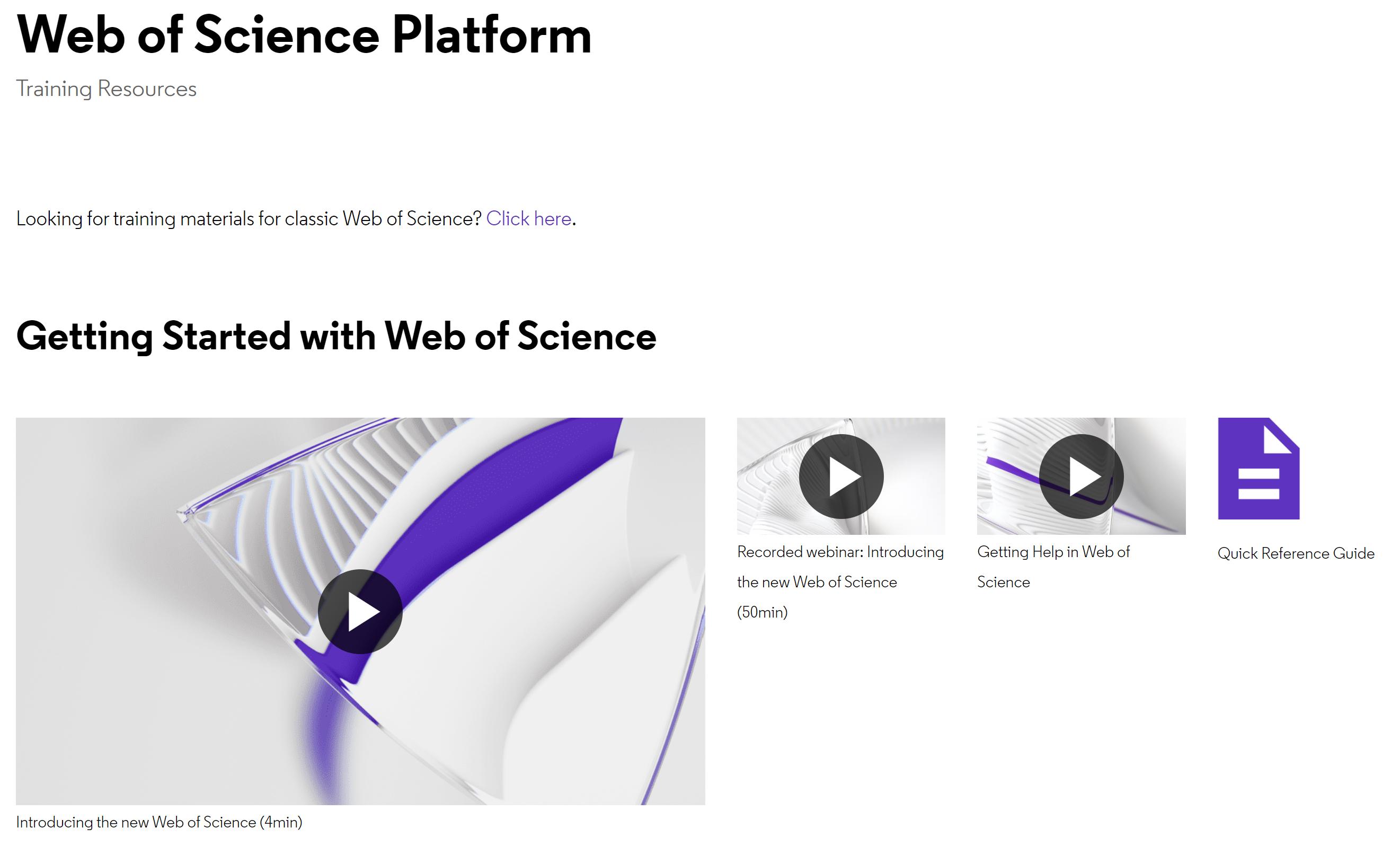 Web of Science Training Platform
