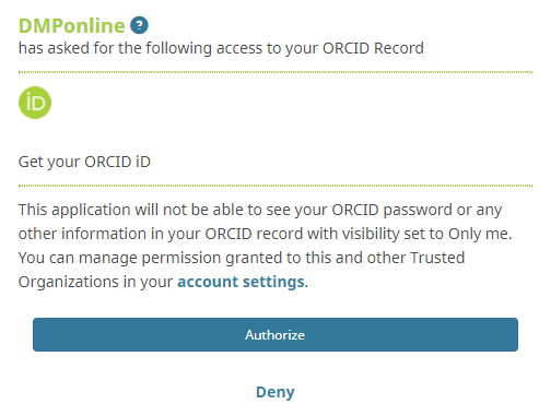 Authorization DMPonline - Get your ORCID iD