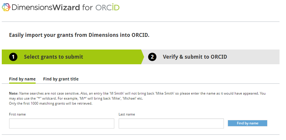 DimensionsWizard for ORCID