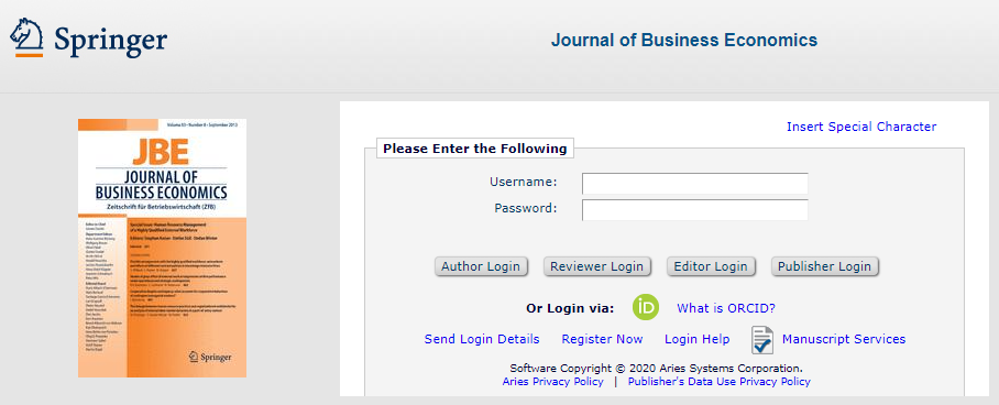 Login screen to submit to Journal of Business Economics with the option to use ORCID to login
