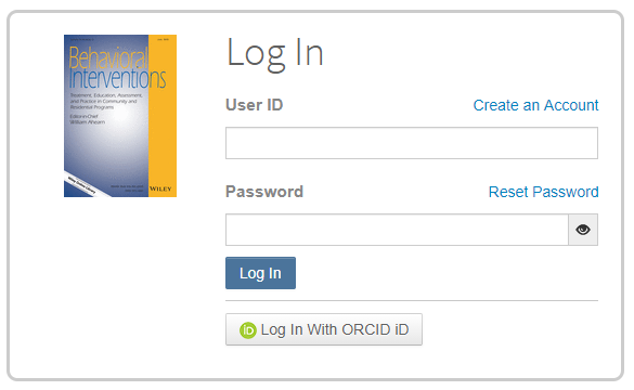 Login screen Behavioral Interventions with the option to login with ORCID