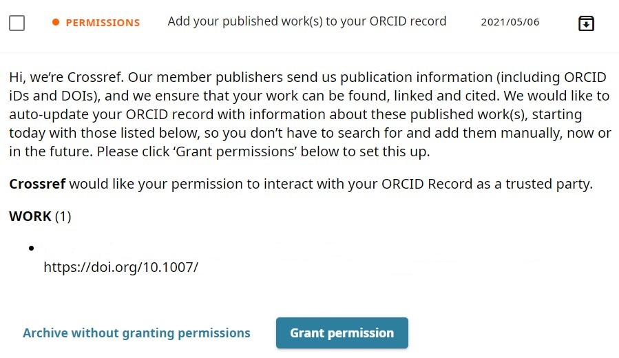 Request from Crossref to get permission to auto-update your ORCID record