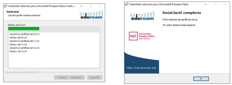 Configuració eduroam Windows