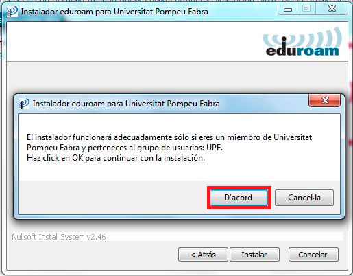 Configuració eduroam Windows XP, Vista i 7