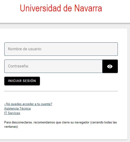 Pantalla de identificación de la Universidad