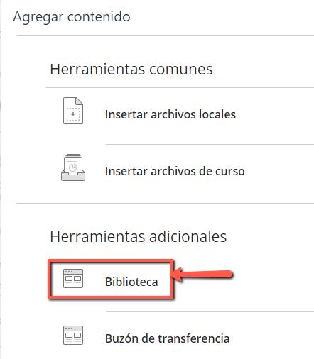 Selecciona la opción Biblioteca en la sección Herramientas adicionales