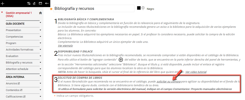 En la sección 3 del texto explicativo encontrarás un enlace de solicitar en compra que te llevará a un formulario donde deberás introducir los datos del libro