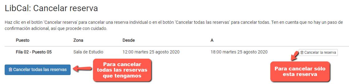 Captura de pantalla para cancelar una reserva