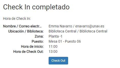 Captura de pantalla de la confirmación del check in