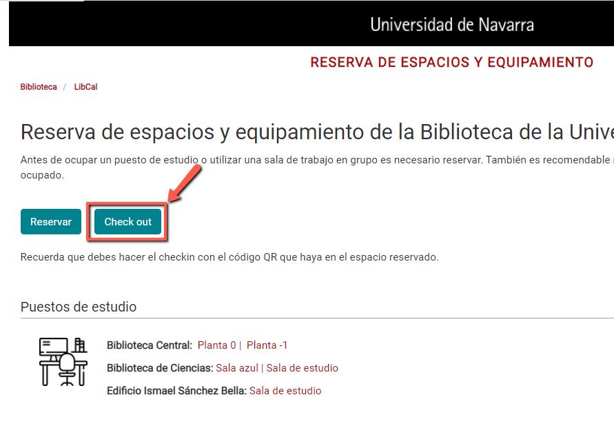 Opción de hacer el check out desde la página principal de la aplicación de reserva de puestos