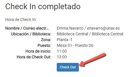 Opción de hacer check out desde la pantalla de check in