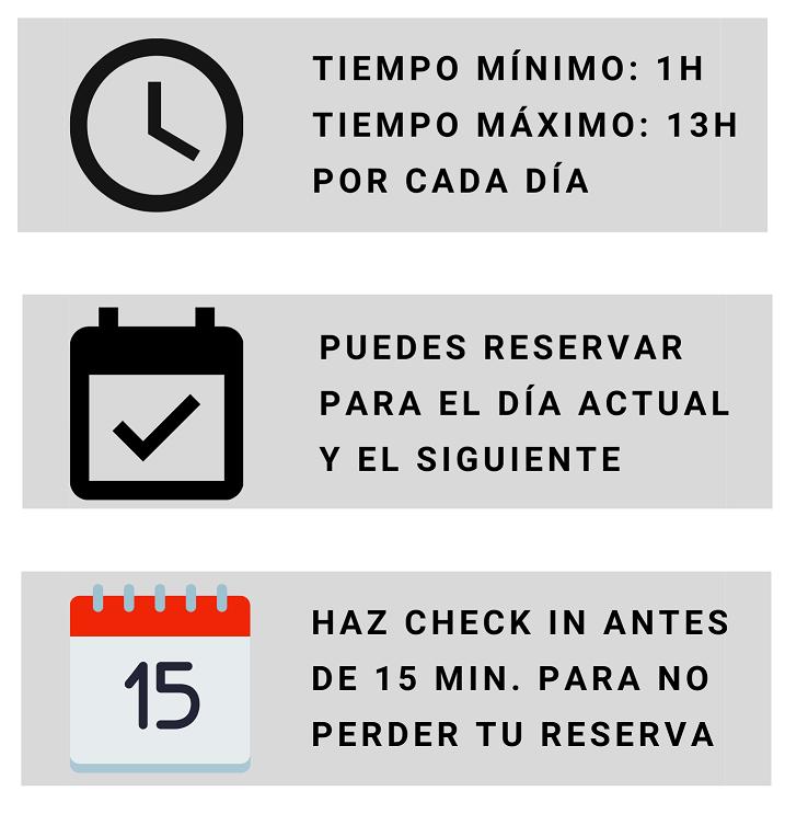 Tiempo mínimo 1 hora, tiempo máximo 13 horas. Puedes reservar para el día siguiente y el actual. Si en 15 minutos no has hecho check in perderás tu reserva