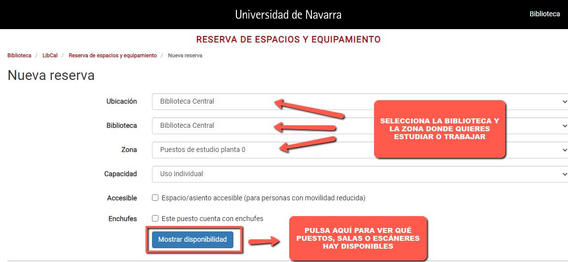 Pantalla de selección de la ubicación, biblioteca y zona de la aplicación reserva de espacios y equipamientos