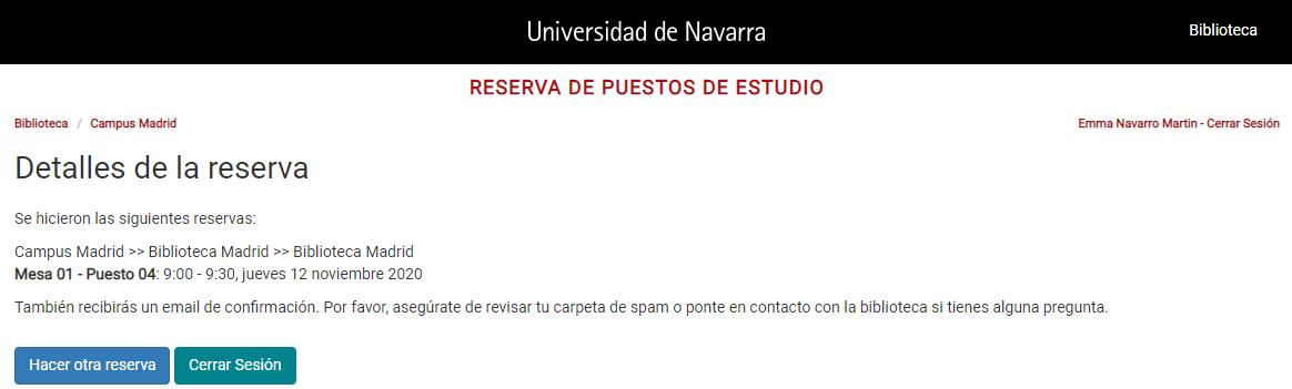 Pantalla de confirmación de la reserva desde donde podrás hacer una nueva reserva o cerrar la sesión