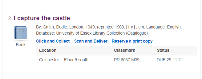Item in library search that is on loan