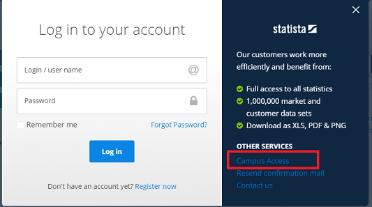 Login using the campus access link