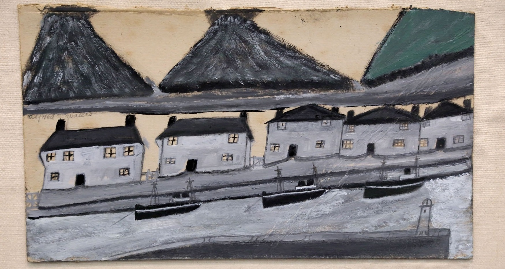 Painting of houses near the sea